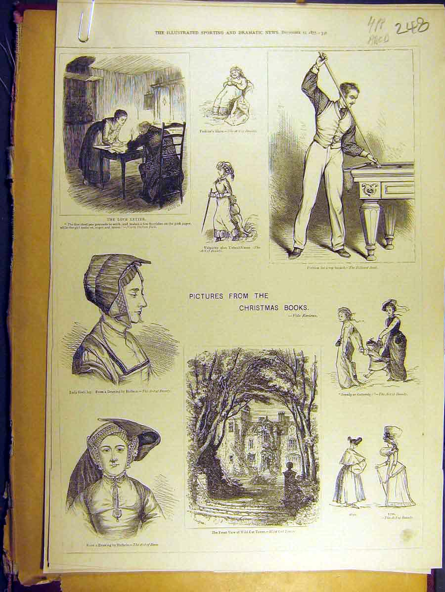 Print 1877 Pictures Christmas Books Sketches 48A8771 Old Original