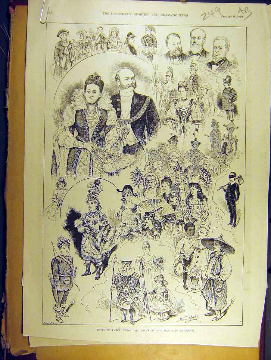 Print 1892 Juvenile Fancy Dress Ball Leicester Sketch Mansion 49A8771 Old Original