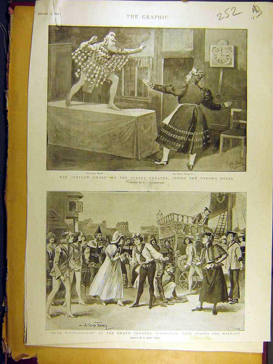 Print 1898 Surrey Theatre Islington Dick-Whittington Drury 52A8771 Old Original