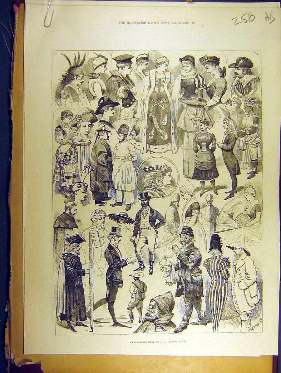 Print 1883 Fancy-Dress Ball Mansion-House Sketches Juvenile 58A8771 Old Original