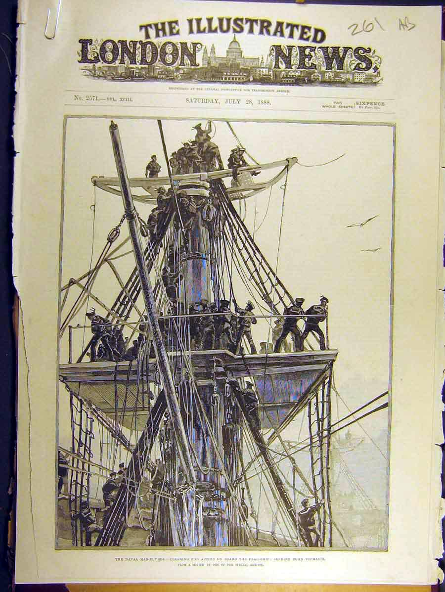 Print 1888 Flag-Ship Naval Manoeuvres Topmast Electric Light 61A8771 Old Original