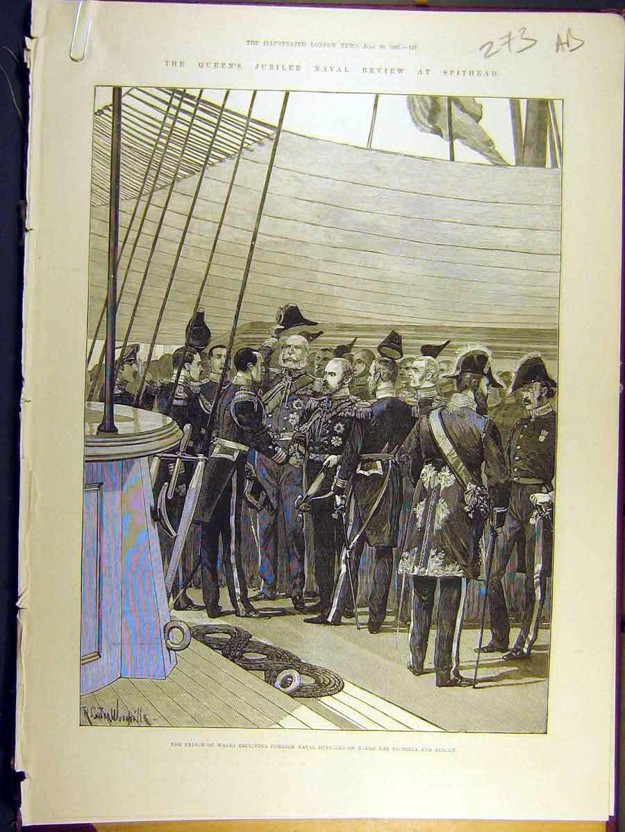 Print 1887 Spithead Royal Naval Review Prince Wales Yacht 73A8771 Old Original