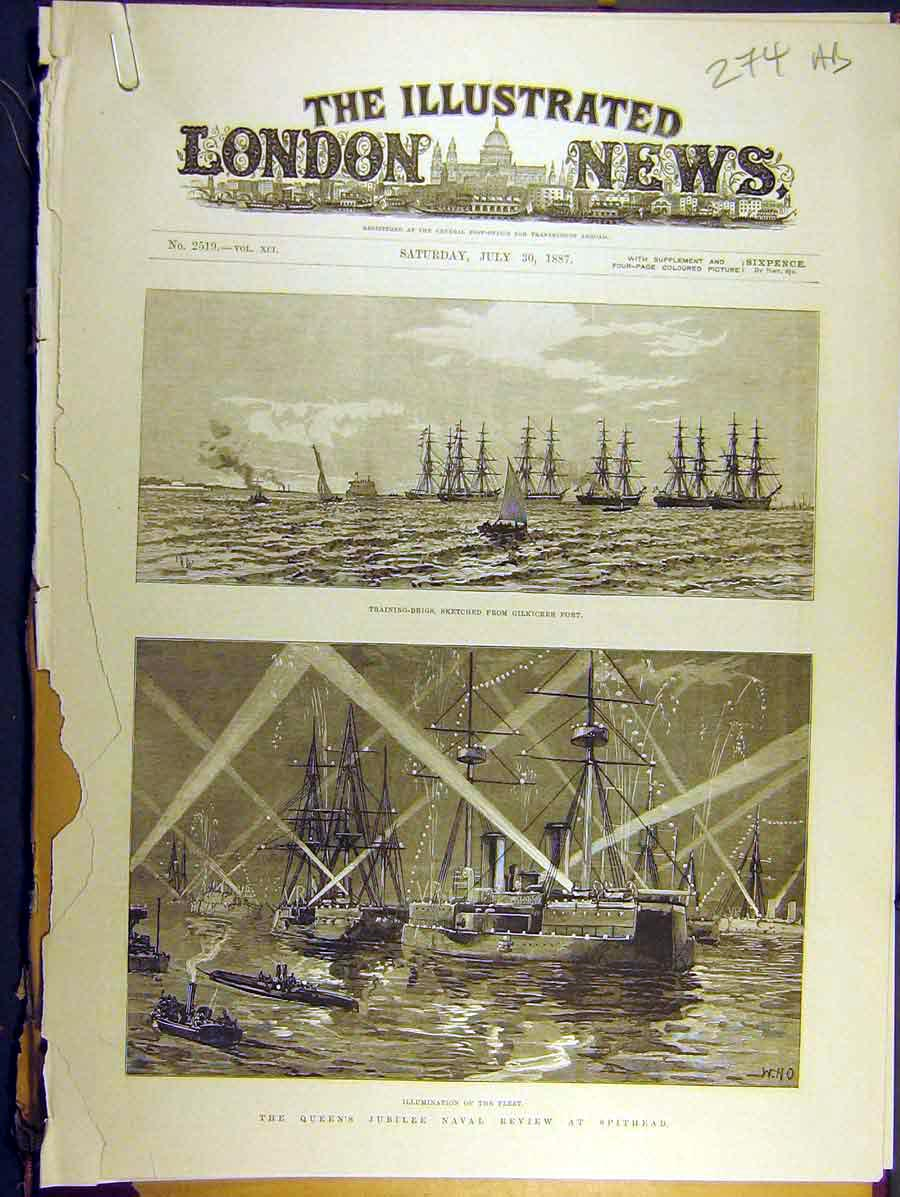 Print 1887 Queen Jubilee Spithead Review Naval Royal-Yacht 74A8771 Old Original