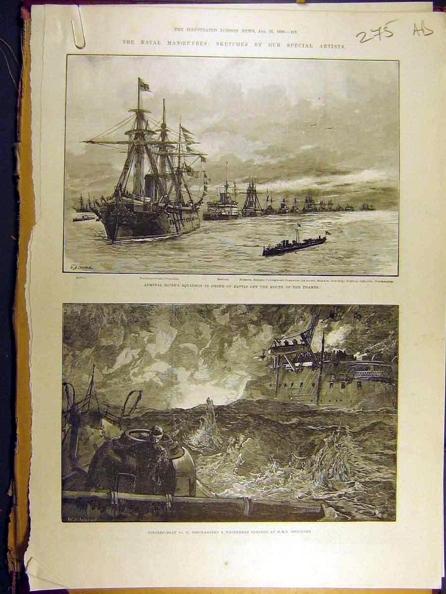 Print 1888 Naval Manoeuvres Thames Hms Hercules Squadron 75A8771 Old Original