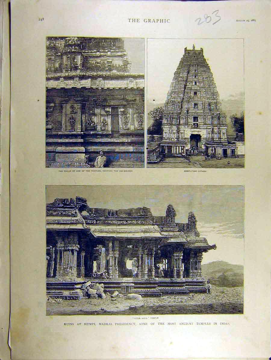 Print 1885 Temple Gopara Vitla-Roya Humpi India Ruins Madras 838771 Old Original