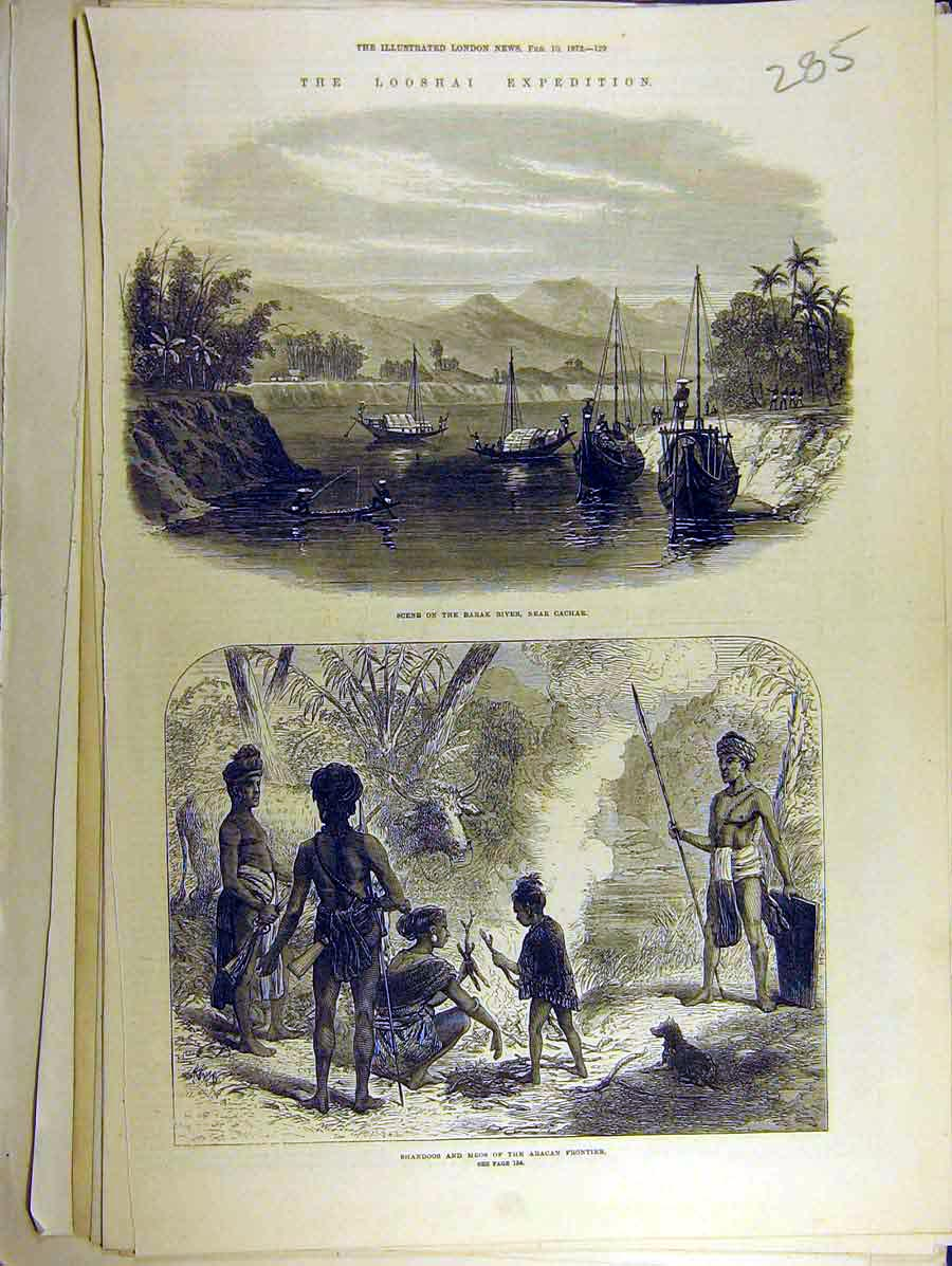 Print 1872 Looshai Expedition Barak River Aracan Shandoo Mros 858771 Old Original