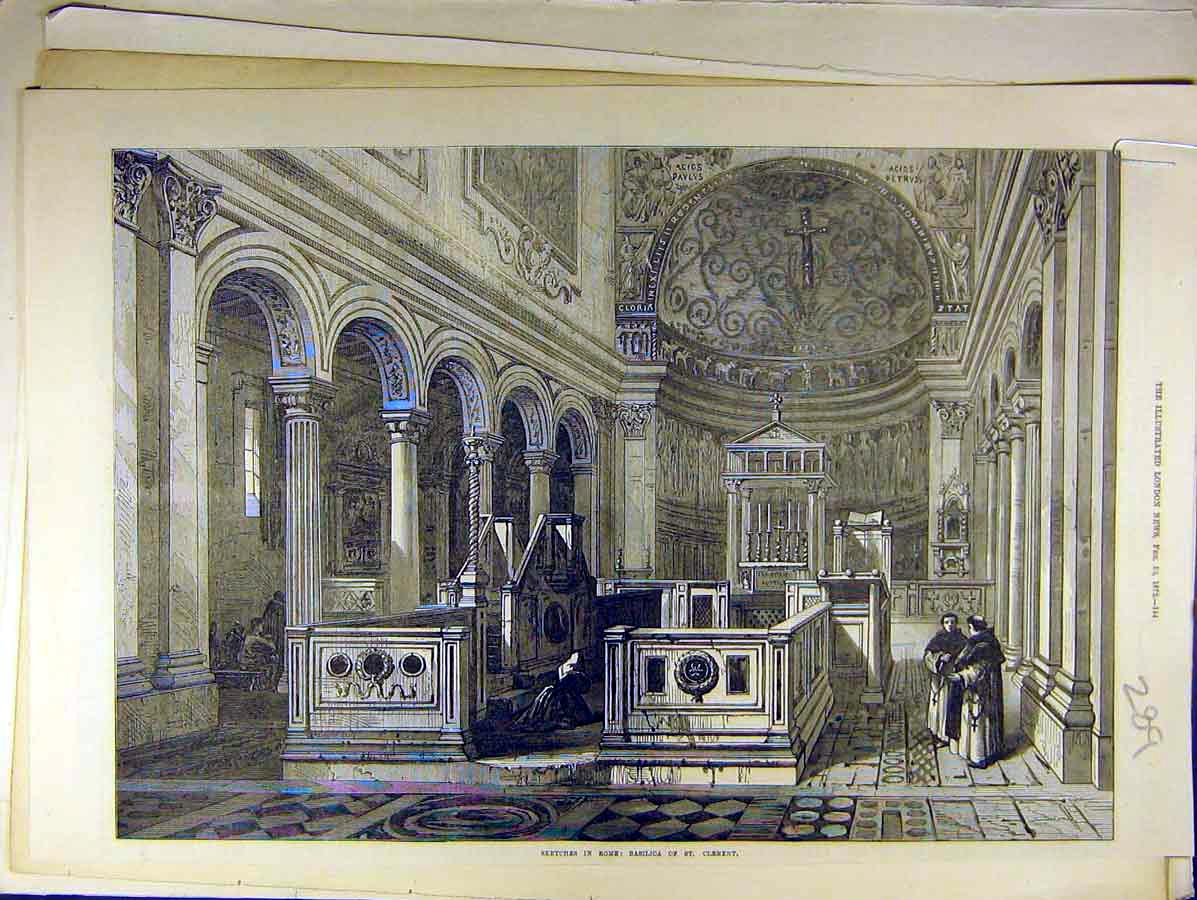 Print 1872 Sketch Rome Basilica St. Clement 898771 Old Original