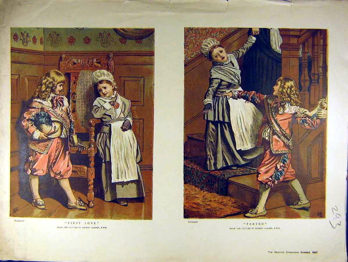 Print 1887 First-Love Boy Girl Children Barne Fine Art 938771 Old Original