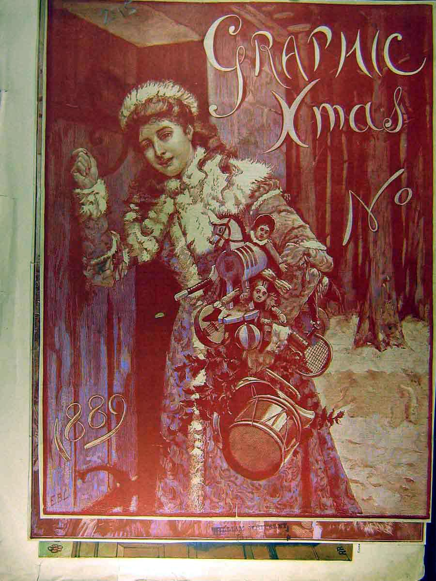 Print 1887 Graphic Xmas Show Christmas Shilling People 948771 Old Original