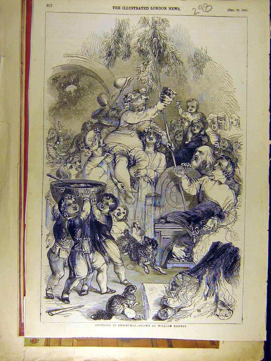 Print 1845 Harvey Christmas Sketch Children People Party 988771 Old Original