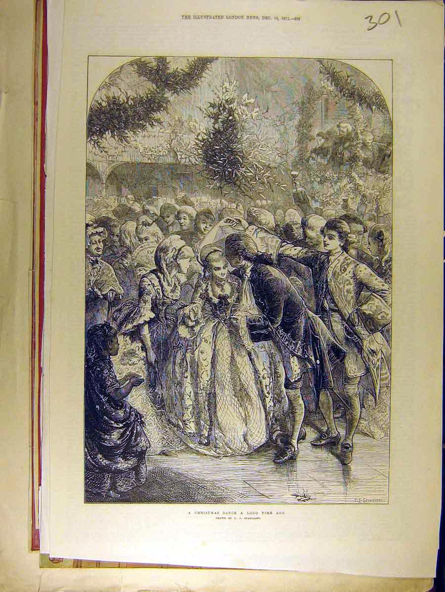 Print 1871 Christmas Dance Long-Ago People Party Staniland 018771 Old Original