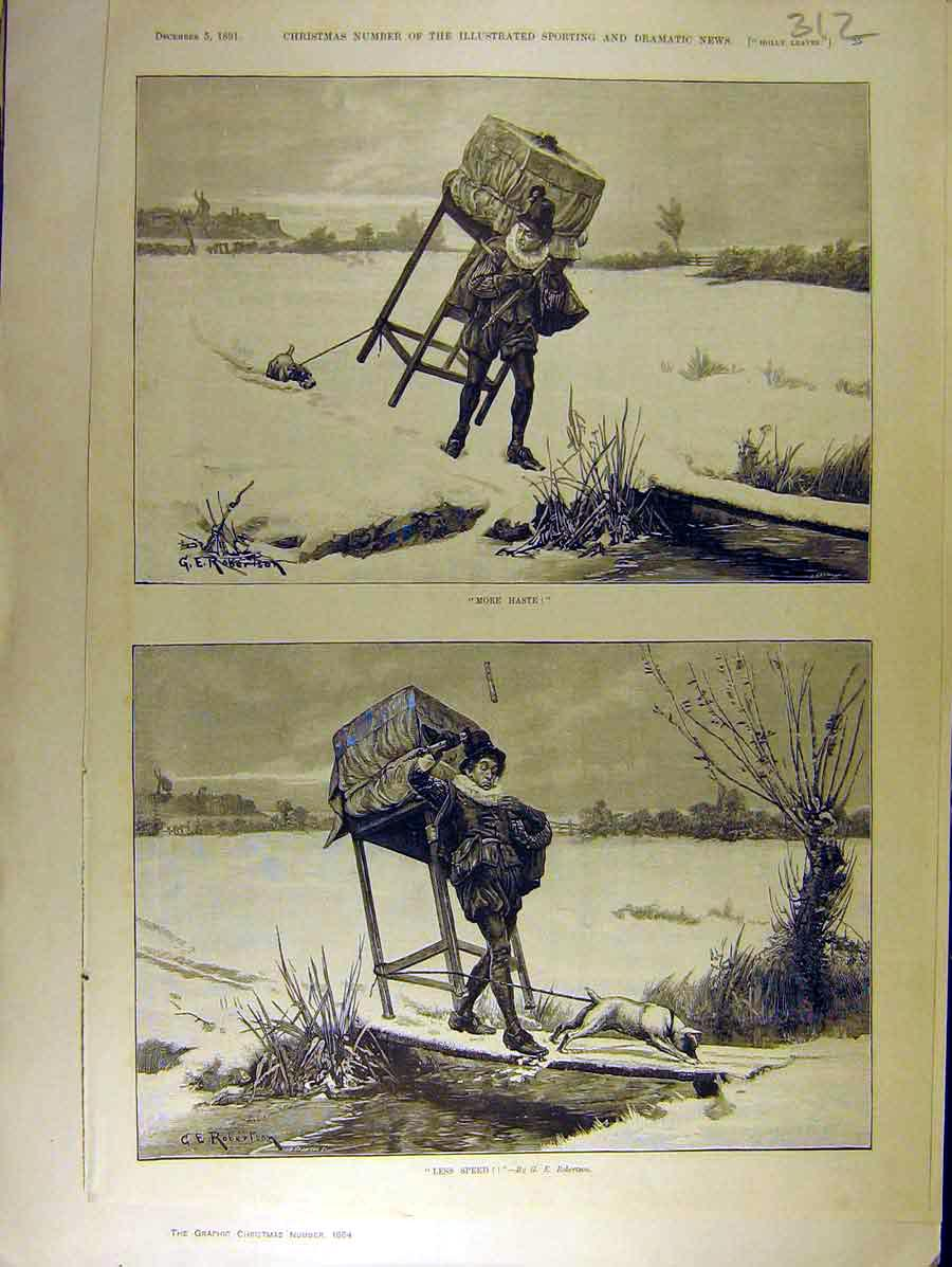 Print 1891 Man Dog Haste-Speed Snow Robertson 128771 Old Original
