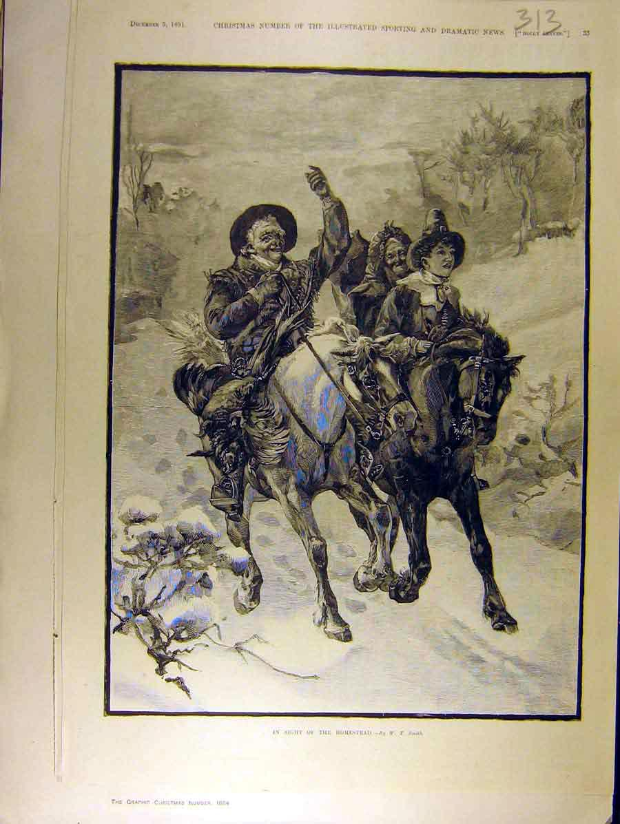 Print 1891 Homestead Horse Riders Hunting 138771 Old Original