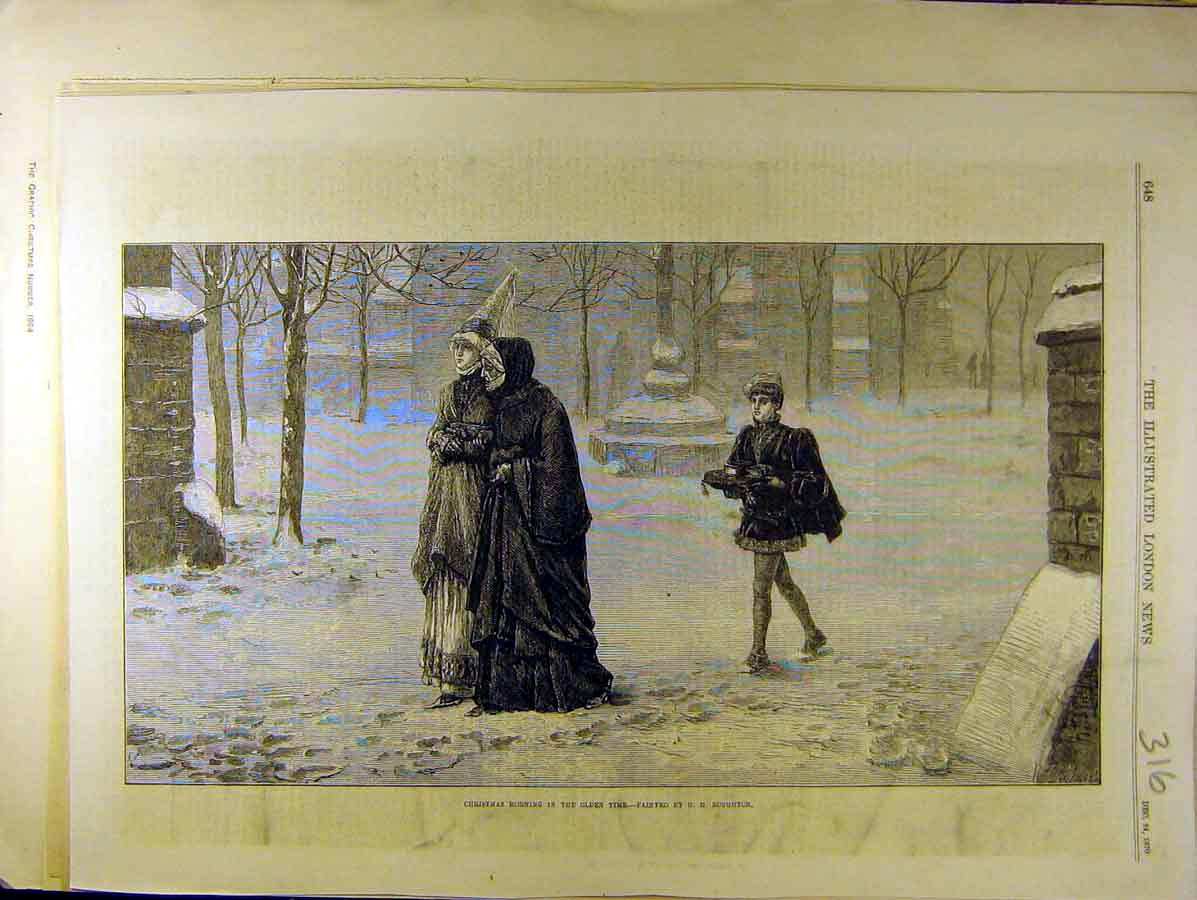 Print 1870 Christmas Morning Olden-Time Boughton Ladies 168771 Old Original