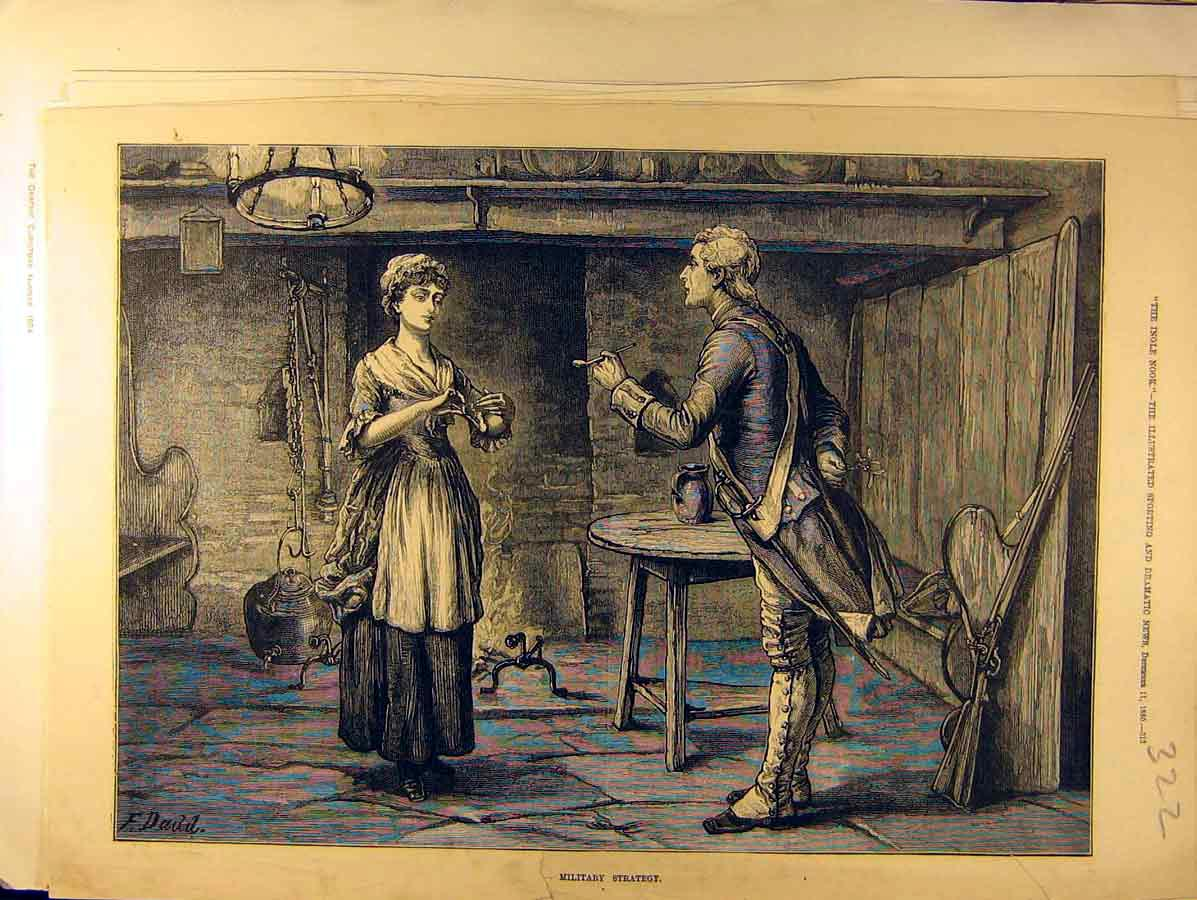 Print 1880 Military Strategy Lady Gentleman Mistletoe 228771 Old Original