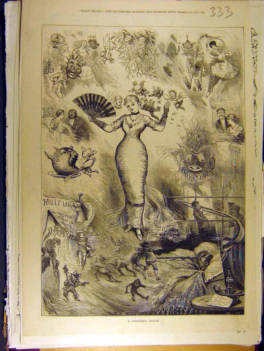 Print 1879 Christmas Dream Lady Pixies Fairies Child 338771 Old Original