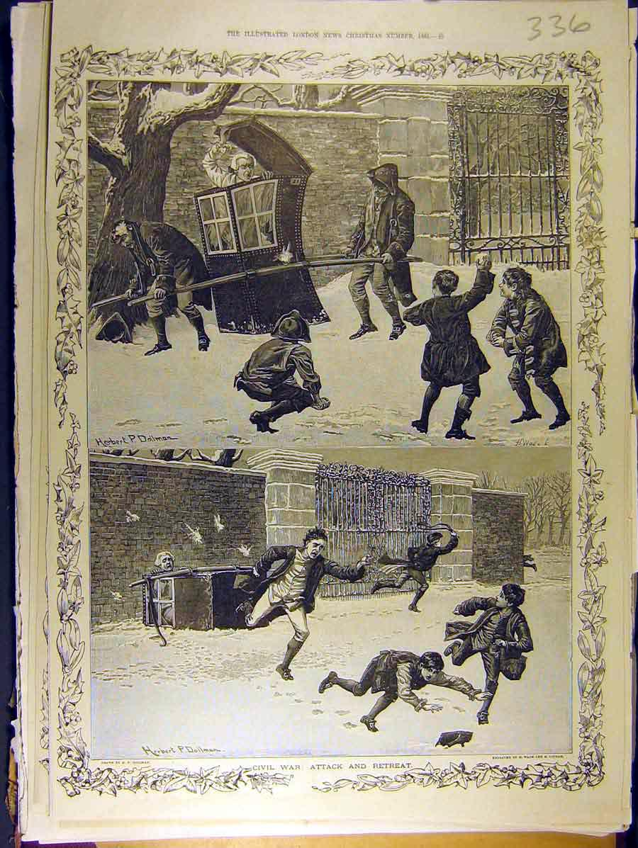 Print 1885 Civil War Attack Children Dollman Snow-Ball 368771 Old Original