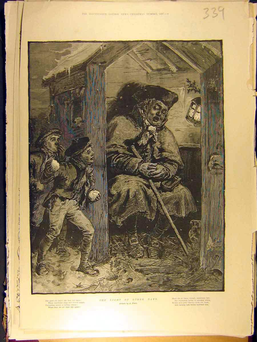 Print 1887 Old-Man Children Snowball Other-Days Hunt 398771 Old Original