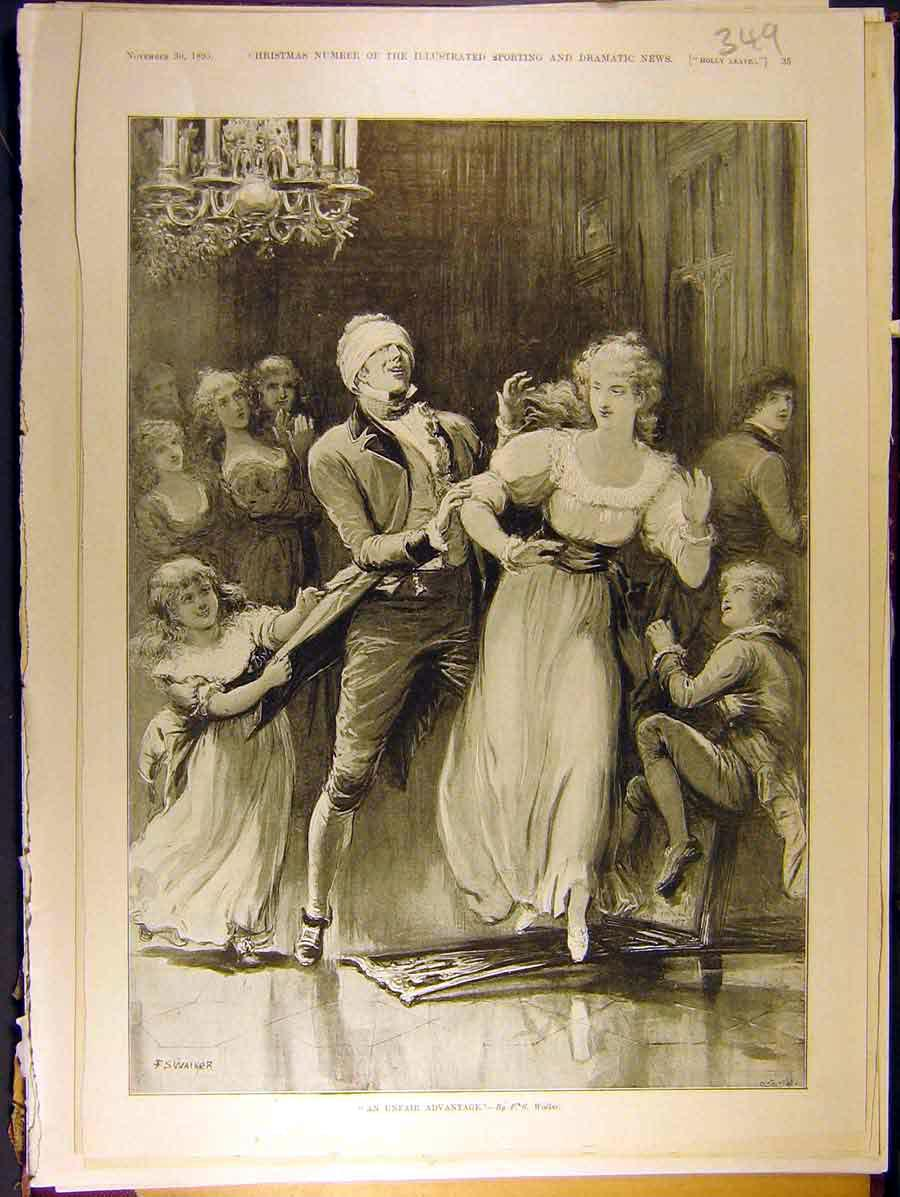 Print 18959 Party-Games Lady Man Children Walker 498771 Old Original