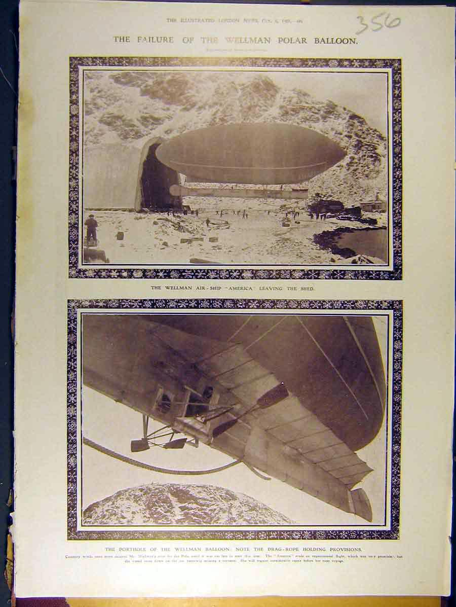 Print 1907 Wellman Polar Balloon Air-Ship America 568771 Old Original
