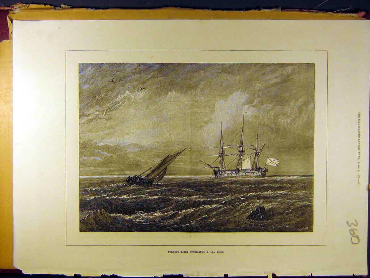 Print 1873 Turner Liber Studiorum Sea-Piece Ship Boat 608771 Old Original
