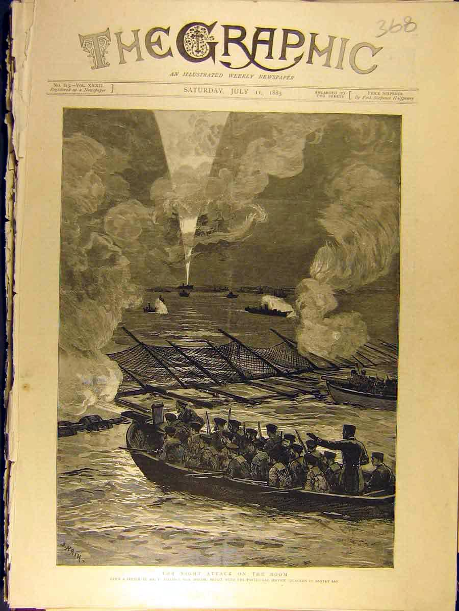 Print 1885 Night-Attack Boom Squadron Naval Bantry-Bay 688771 Old Original