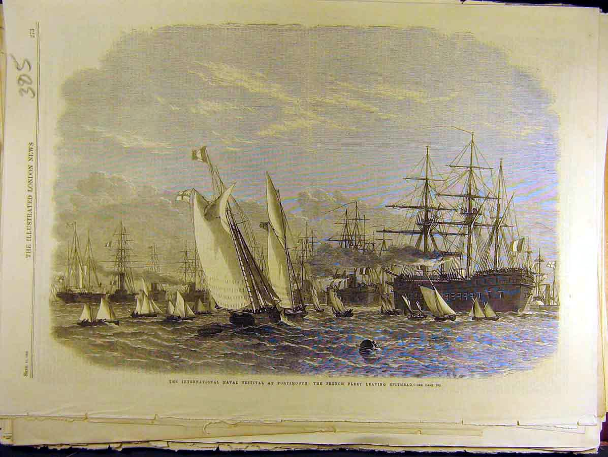 Print 1865 Naval Festival Portsmouth French Fleet Spithead 858771 Old Original