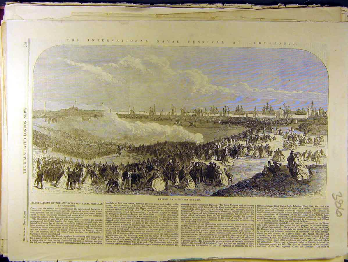 Print 1865 Naval Festival Portsmouth Anglo-French Navy 868771 Old Original