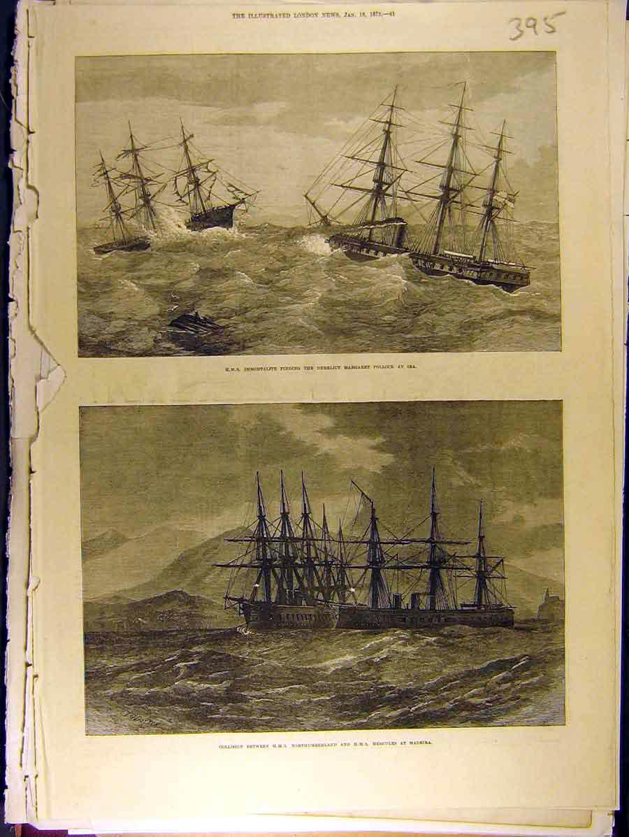 Print 1873 Hms Immortalite Northumberland Hercules Ship 958771 Old Original