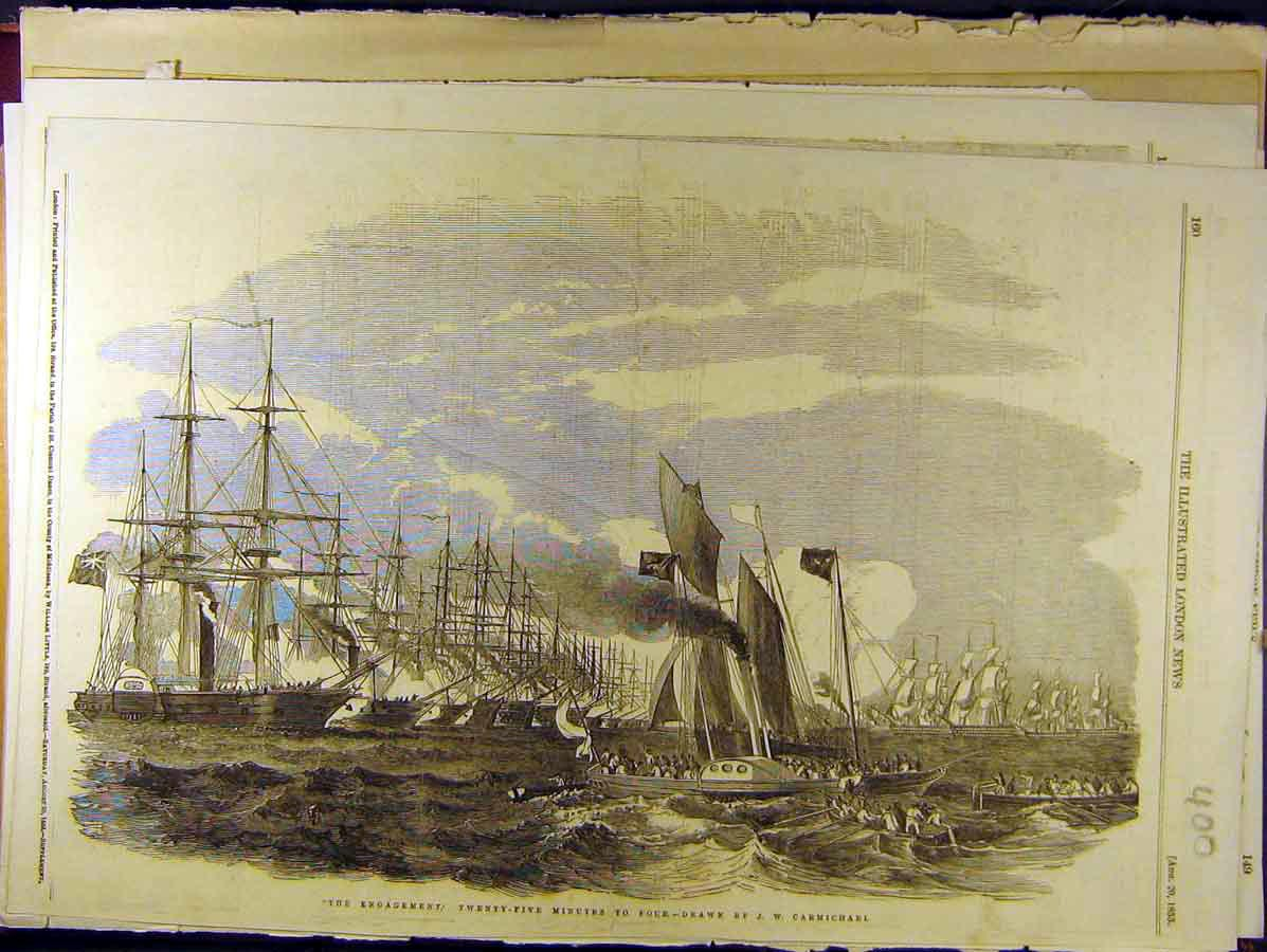 Print 1853 Carmichael Naval Ships Navy Battle 008771 Old Original