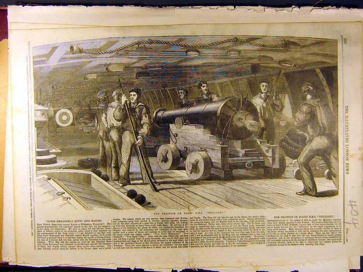 Print 1860 Gun-Practice Hms Brilliant Sailors Navy 048771 Old Original