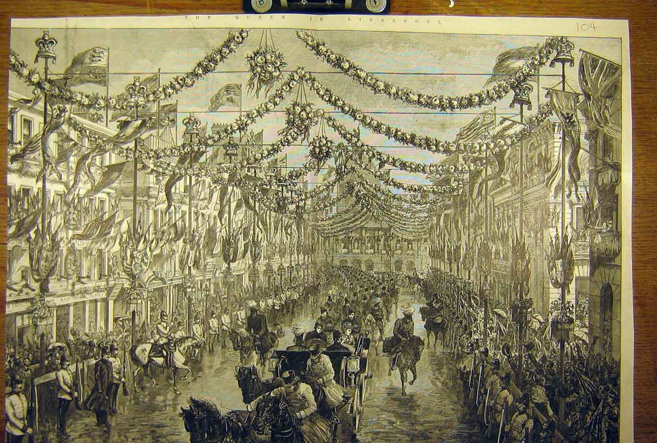 Print 1886 Royal Procession Castle-Street Liverpool Queen 04T8781 Old Original