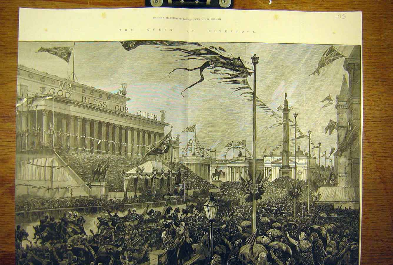 Print 1886 St George'S Hall Corporation Queen Liverpool Visit 05T8781 Old Original