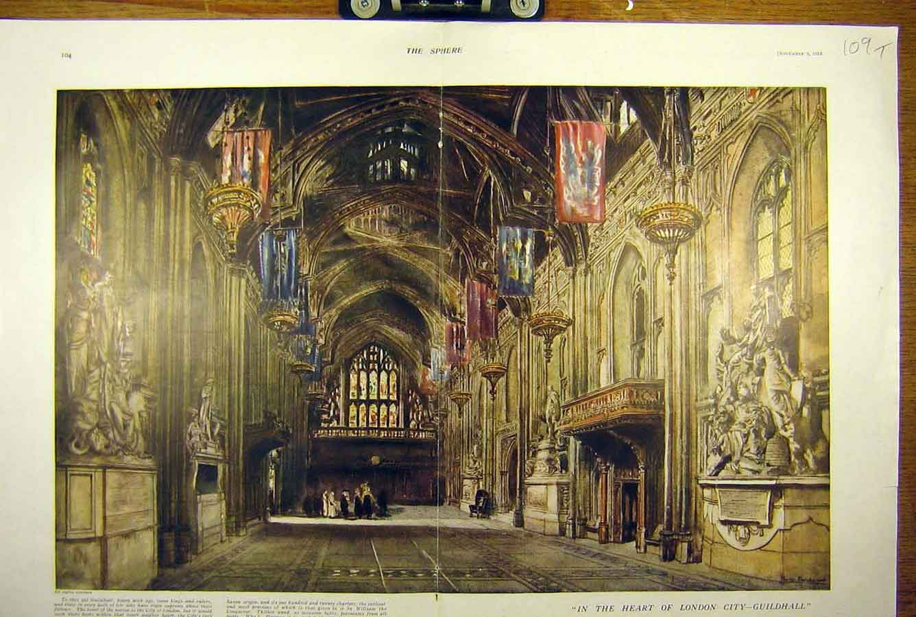 Print 1918 London-City Guildhall Building Interior 09T8781 Old Original