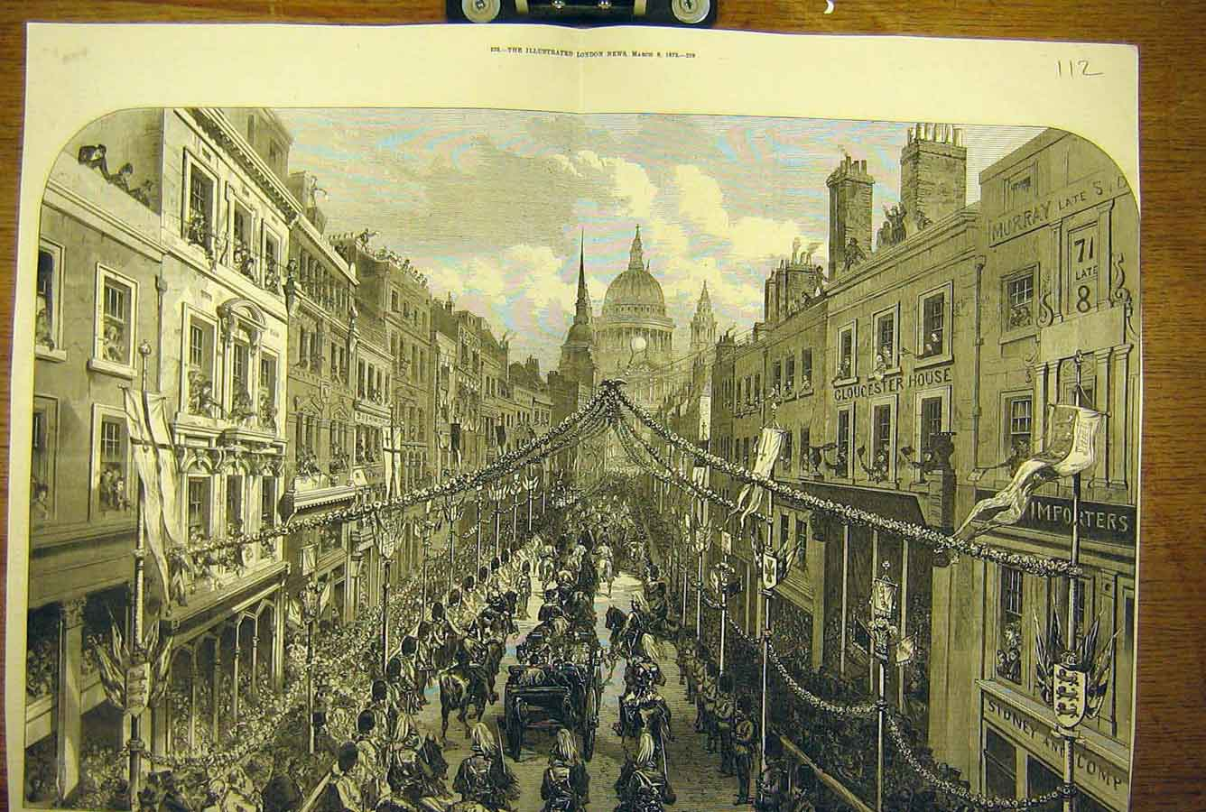 Print 1872 Thanksgiving Day Procession Ludgate Hill Royal 12T8781 Old Original