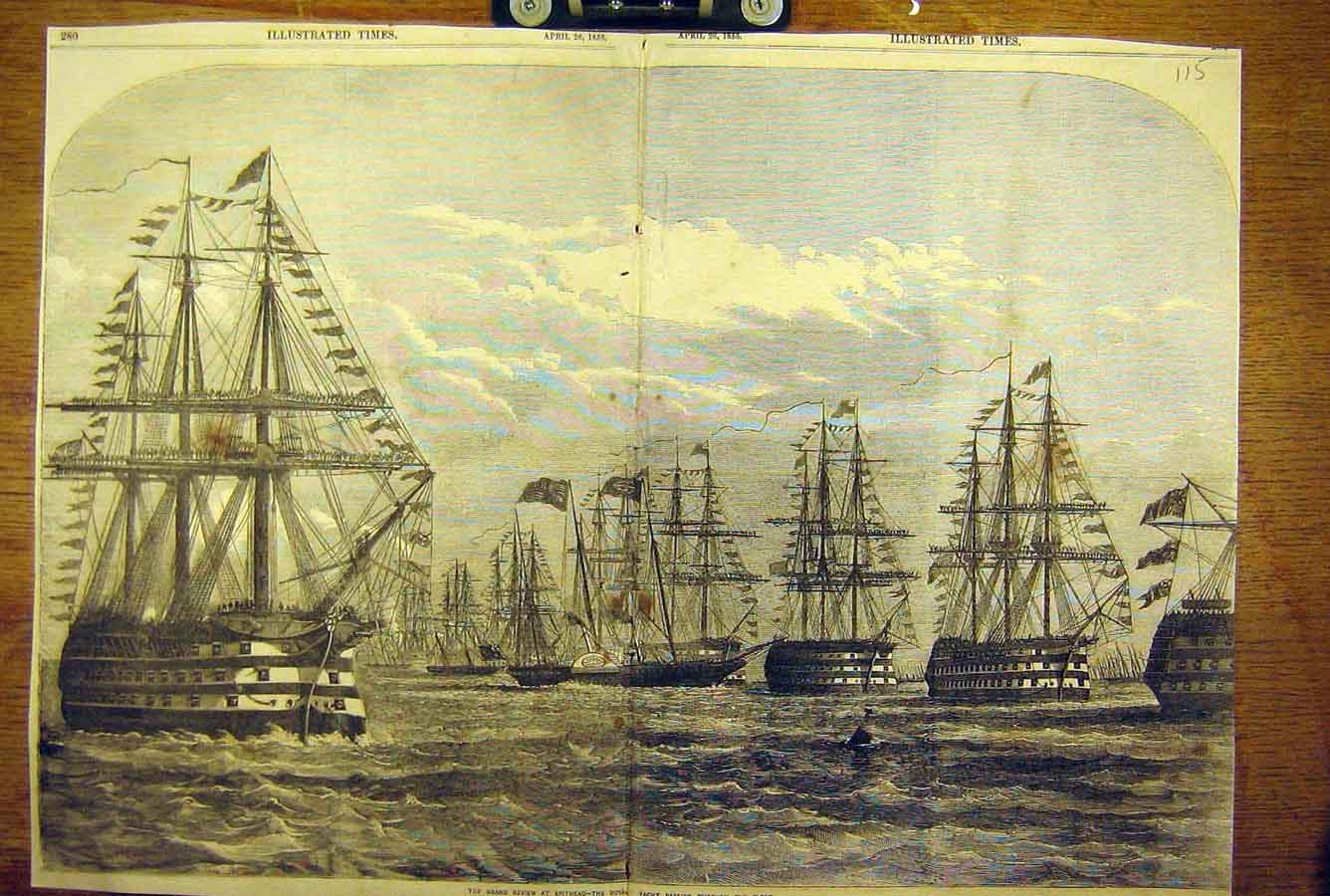 Print 1856 Grand Review Spithead Royal Yacht Fleet Naval 15T8781 Old Original