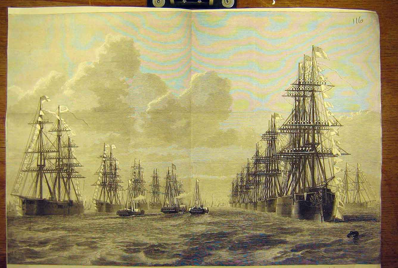 Print 1873 Naval Review Spithead Royal Yacht Shah Navy 16T8781 Old Original