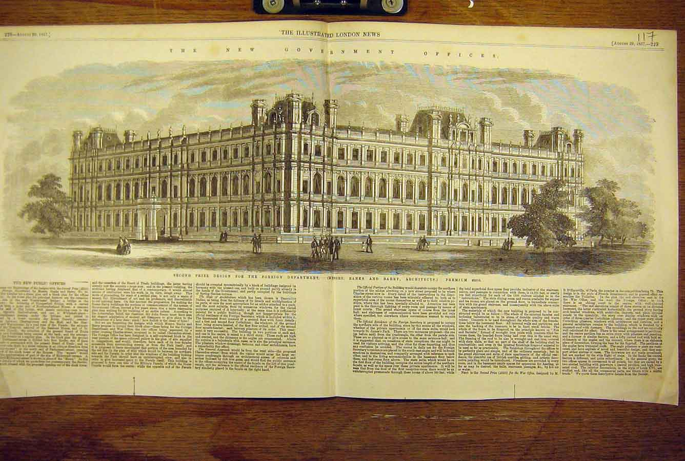 Print 1857 New-Government Office Design Building Architecture 17T8781 Old Original