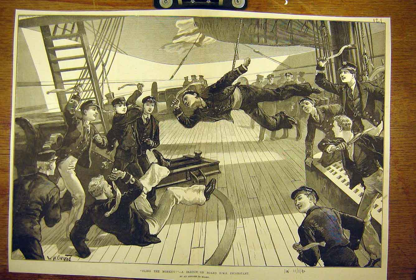 Print 1882 Sling-The-Monkey Sketch On-Board Hms Inconstant 21T8781 Old Original