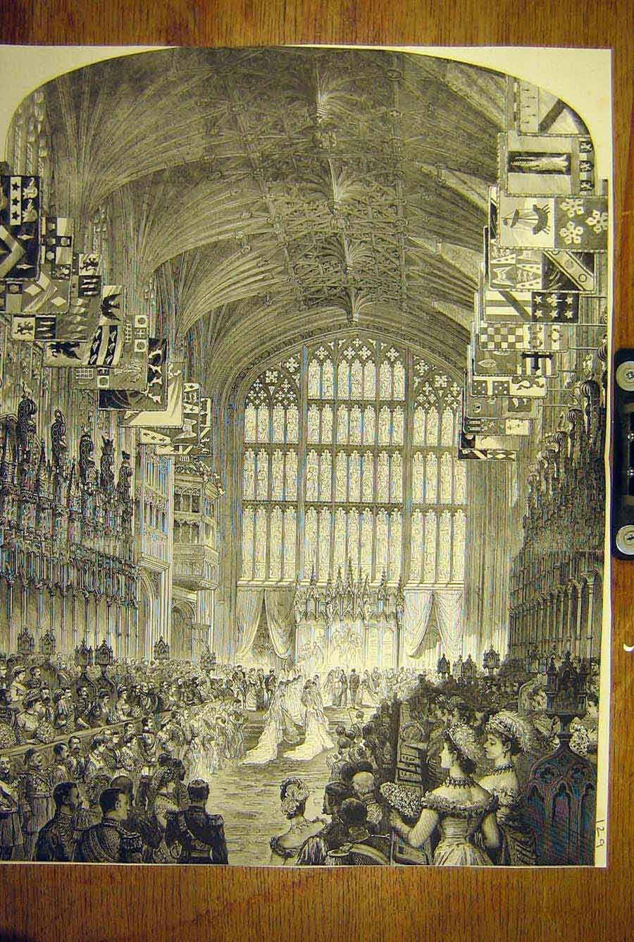 Print 1882 Royal Wedding Marriage Ceremony Windsor Chapel 29T8781 Old Original