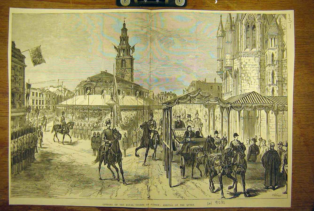 Print 1882 Royal Courts Justice Queen Procession Cortege 31T8781 Old Original