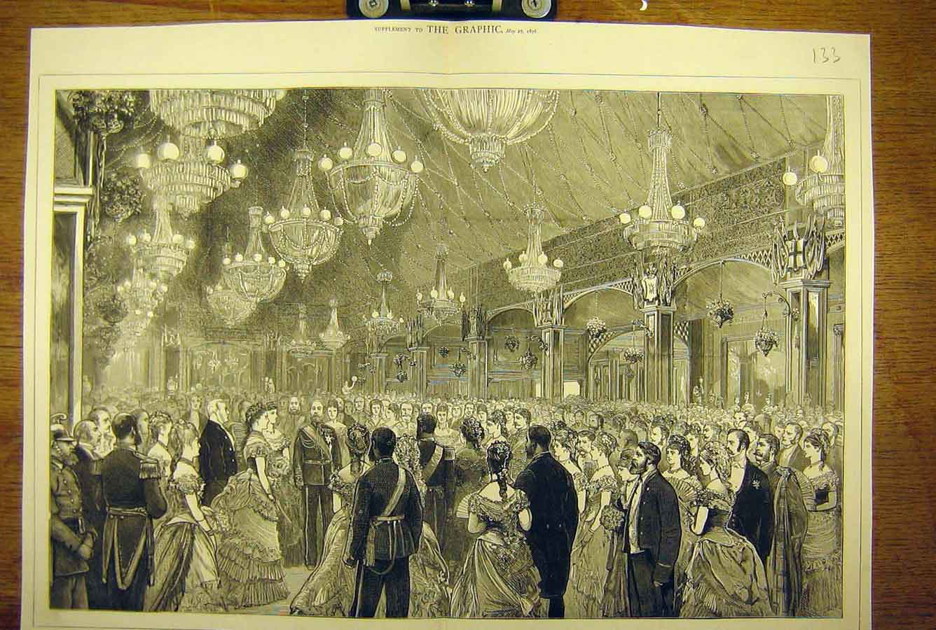 Print 1876 Prince Wales Royal Quadrille Grand Ball Room 33T8781 Old Original
