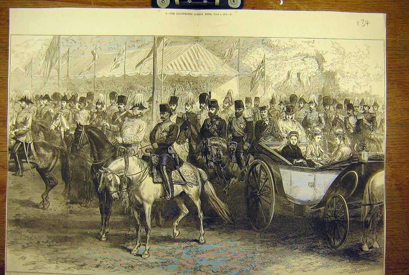 [Print 1873 Queen Shah Persia Review Windsor Park Military 34T8781 Old Original]