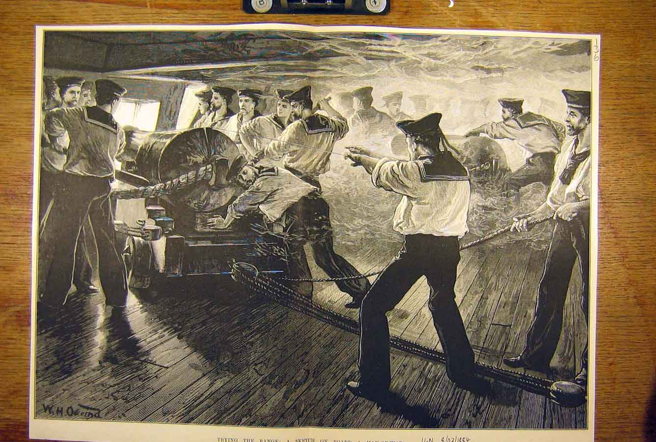 Print 1884 Sketch On-Board Man-Of-War Naval Sailors Navy 36T8781 Old Original