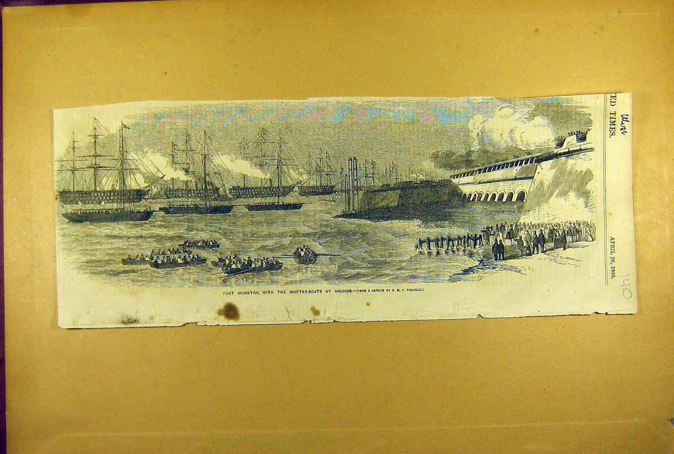 Print 1856 Fort Monkton Mortar-Boats Anchor Naval 408781 Old Original