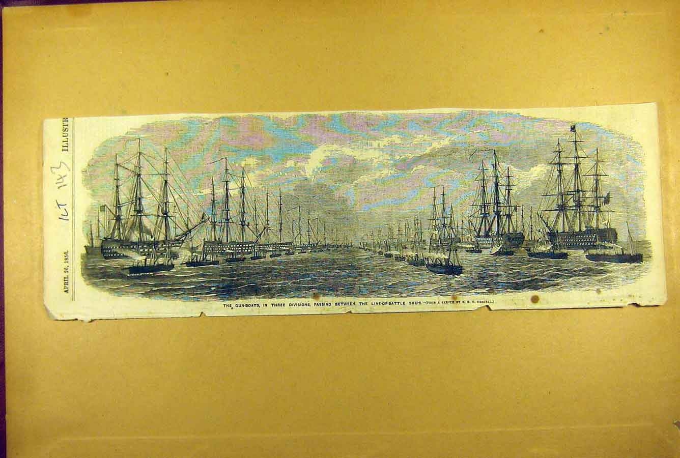 Print 1856 Gun-Boats Battle-Ships Review Naval Navy 438781 Old Original