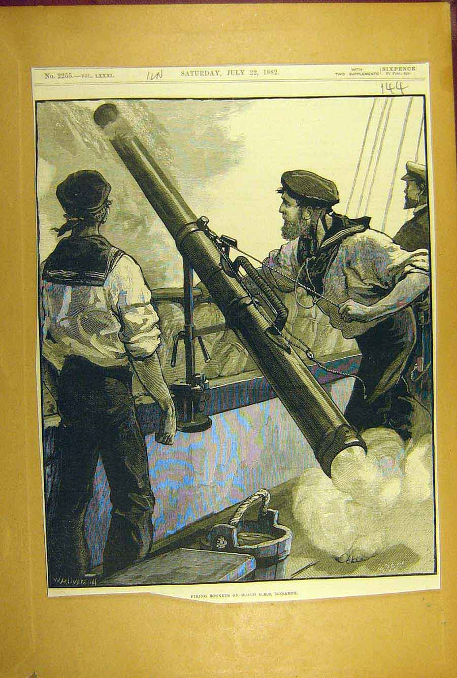 Print 1882 Firing Rockets Hms Monarch Training Naval 448781 Old Original