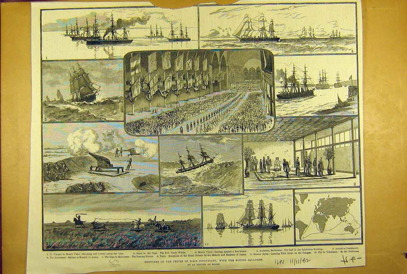 [Print *176 1882 Sketches Hms Inconstant Flying Squadron Naval 478781 Old Original]