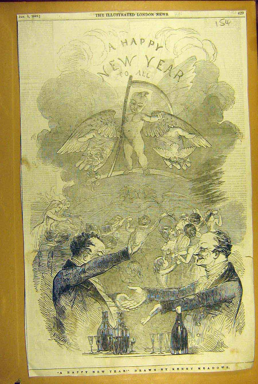 Print 1848 Happy-New-Year Sketch Meadows Party Celebrations 548781 Old Original