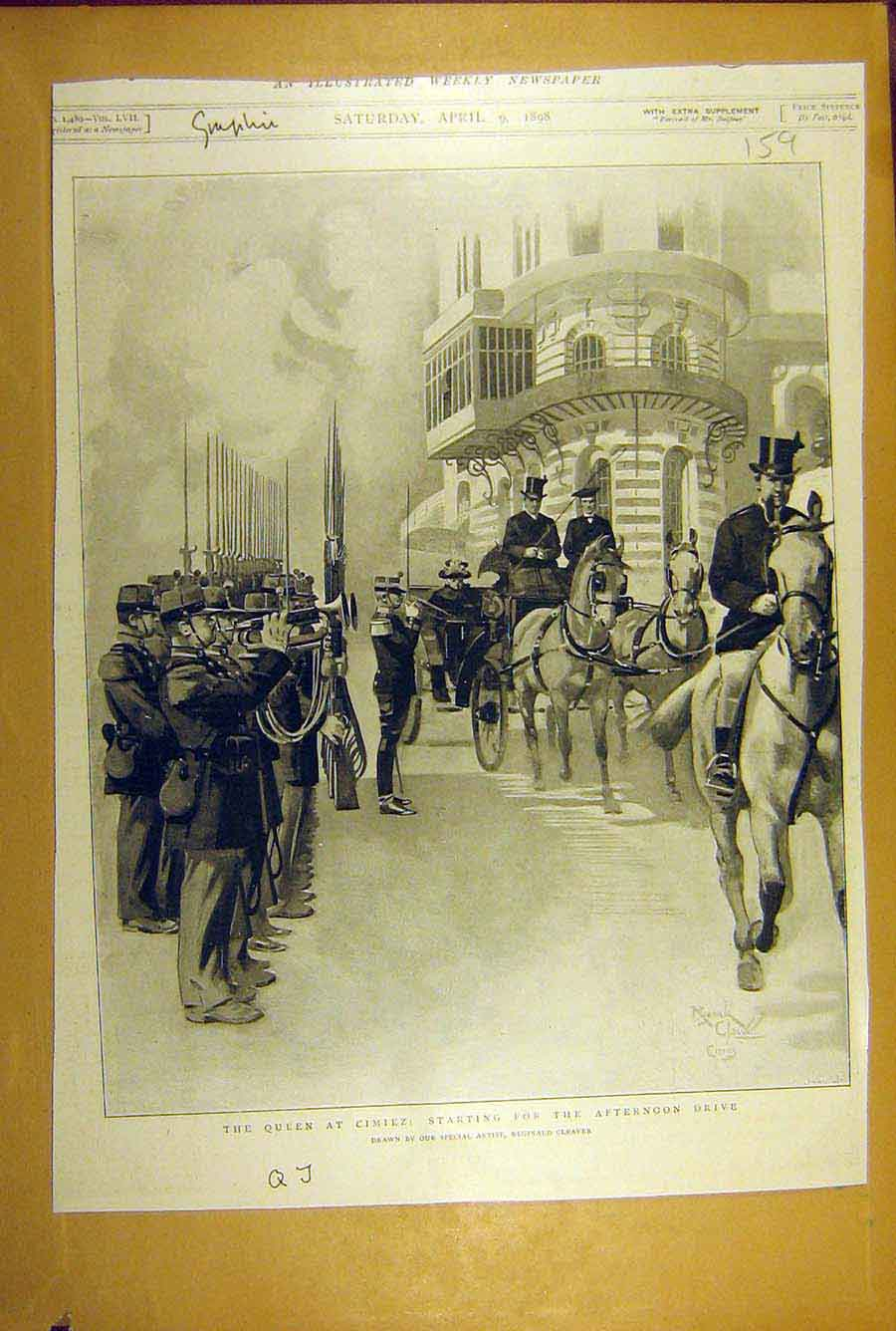 Print 1898 Queen Cimiez Afternoon-Drive Procession Cleaver 598781 Old Original